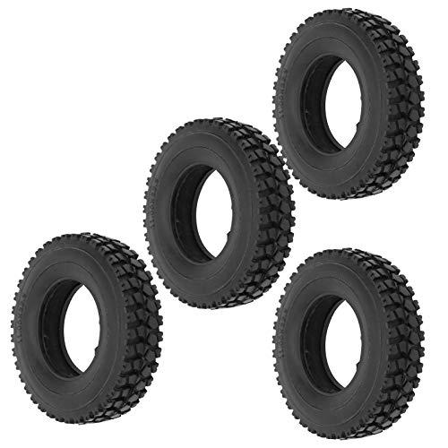 Dilwe Neumático de Coche RC, 4 Piezas de neumático de Goma RC de 20 mm con Ancho de Esponja Neumático de patrón de Piedra triturada Compatible con camión Tractor 1/14 RC Coche Negro