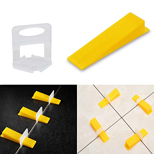 Tile Leveling System Tiles Leveler Spacers - Lippage Free Tile and Stone Installation for PRO and DIY - 300-Piece Leveling Spacer Clips Plus 100-Piece Reusable Wedges (1/8 Inch)