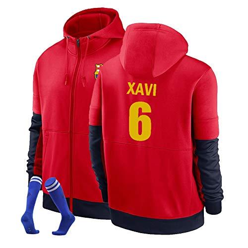 XH Herren Hoodie Xavi Hernandez Creus # 6 Zip Hoody Jugend-Sweatshirt Fußballfans Fan Trikot, S-3XL (Color : Red, Size : Small)