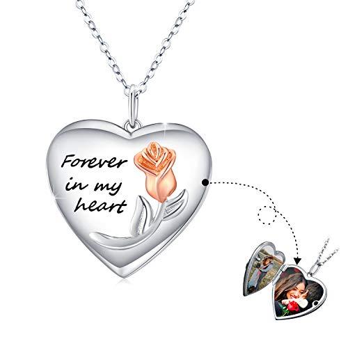 Collares Foto de plata de ley 925 Medallón Forma Corazón para Mujer,