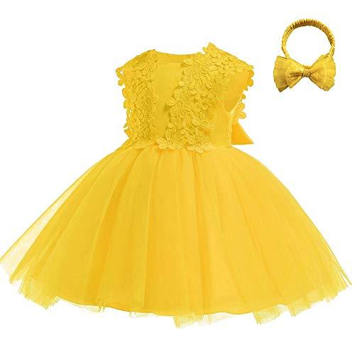 IMEKIS - Vestido para recién nacido, con flores y encaje, para fiestas,...