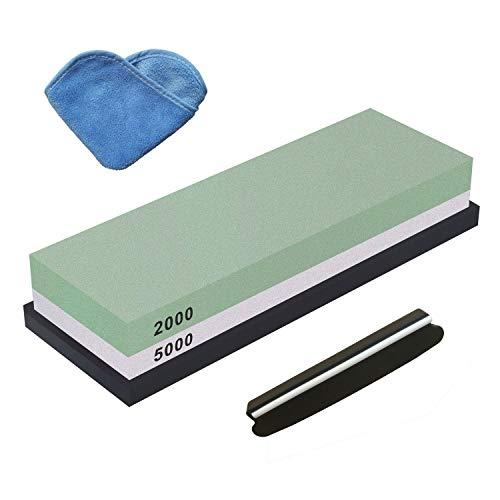 TENINE Wetzstein, Schleifstein Abziehstein für Messer, Körnung Zweiseitiger Messer Schärfer Rutschfestem Silikonhalter (2000/5000)