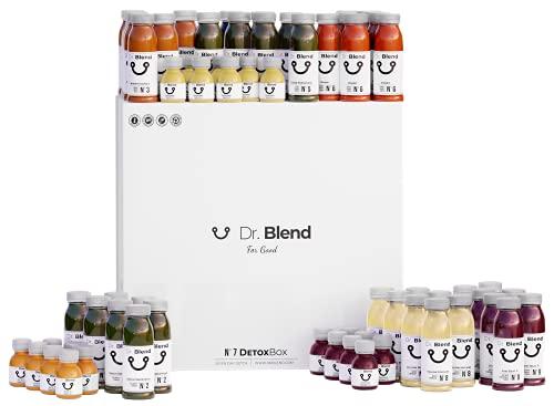 Dr. Blend Cure de Jus Détox 7 Jours (DetoxBox) - 63 Jus et Shots pressés à Froid, Detox Minceur, Manuel inclus