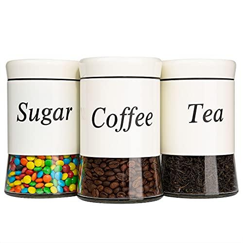 Yangbaga 3pcs Tarro de Almacenamiento de Vidrio para Café ,600ML Botes de Cristal Hermetica Antideslizante y 3pcs Cuchara de bambú Recipiente de Vidrio Cocina para Café, Azúcar, Té y Legumbre…