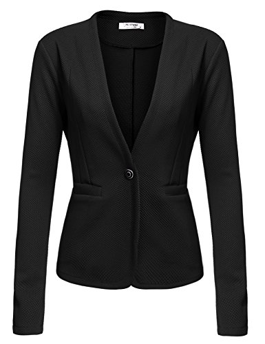 Beyove Women's Long Sleeve Lightweight Open Front Cardigan Blazer Jacket black S…