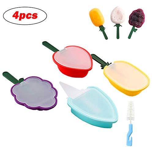 Pandao Ice Lolly Maker, 4Pcs Ice Cream Molds, Fruit Silicone Popsicle Molds Set, Silicone Popsicle Mould Set, Reutilizable Ice Lolly Moulds- Popsicle Maker for Your Kids