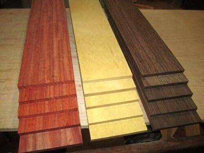 "Wenge Padauk Yellowheart Kiln Dried Thin Exotic Wood Lumber Boards, 12"" X 3"" X 1/4"", Set of 15"