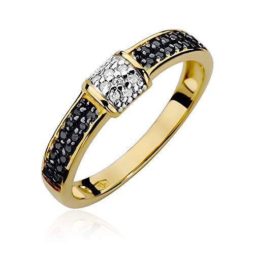Anillo de mujer Zlocisto elaborado en oro con diamantes negros de 0,14ct y diamantes blancos talla brillante de 0,05ct H/Si Muestra585