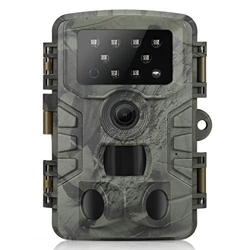 Roeam Cámara de Caza 20MP 1080P con Diseño Impermeable IP66,3 sensores Infrarrojos,Gran Angular de 120°,Cámara de Fototrampeo para Seguimiento Cinegético de Fauna
