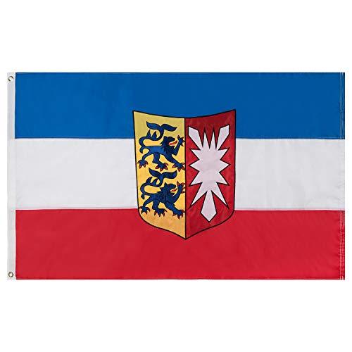 Lixure Schleswig-Holstein Flagge/Fahne Premium Qualität für Windige Tage 90x150cm Stickerei-Flagge Durable 210D Nylon Draußen/Drinnen Dekoration Flagge MEHRWEG