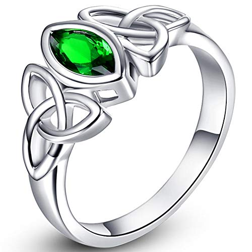 Jude Jewelers White Gold Plated Celtic Knot Oval Shape Stone Solitaire Wedding Engagement Proposal Ring… (Green, 10)