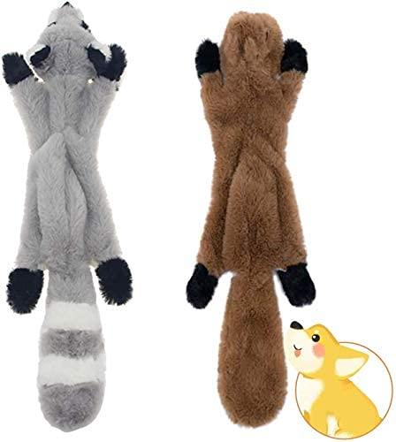TUAKIMCE 2 Pack Quietschende Spielzeug für Hund Keine Füllung Hundekuscheltier Plüschspielzeug Hundespielzeug nteraktive Spielzeug Sicher Kauspielzeug für Kleine & Mittel Hunde
