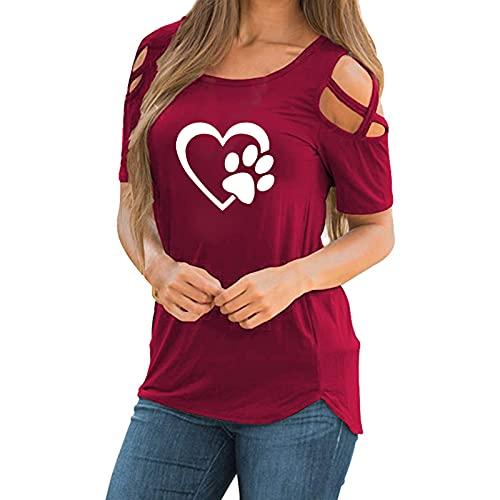 T-shirt pour femme à manches courtes avec épaules dénudées, modèle avec motif patte de chien et amour, pour maison, décontracté, grande taille, taille - Rouge - XXXXL