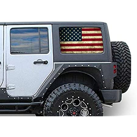 Perforated See Thru Sticker Graphic Decals Side Window Printed Decal Sticker Compatible with Jeep Wrangler JK JL Film 4x4 turbo off Road