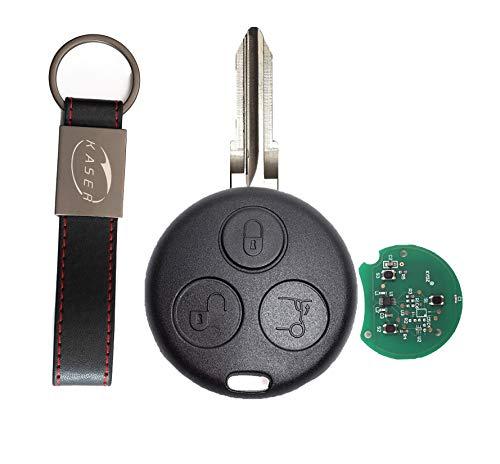 kaser Llave Mando Coche para Smart con Tarjeta Electrónica 3 Botones para 450 FORTWO FORFOUR Roadster 433MHz Transponder con Llavero KASER