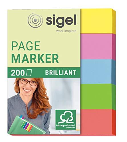SIGEL HN625 Haftmarker mini aus Papier, 5 Farben, 200 Streifen im Format 12 x 50 mm