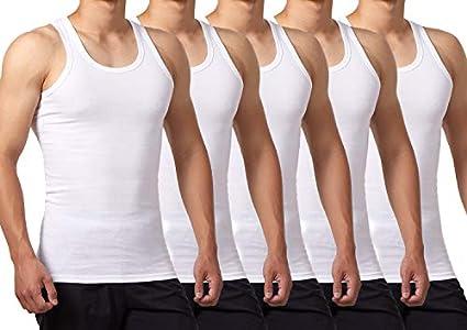 FALARY Camiseta de Tirantes para Hombre Pack de 5 de Algodón 100% más Colores Blanco M