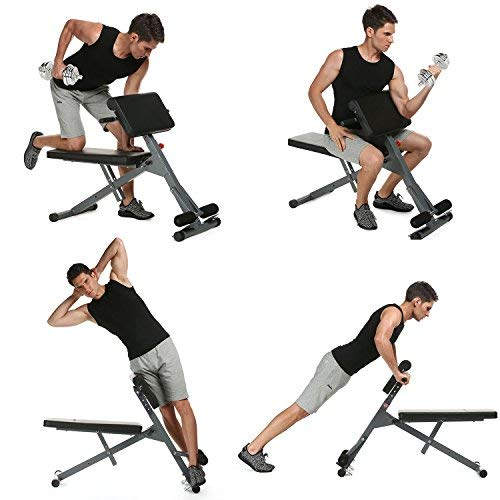 shaofu Abdominal Fitness Multi-Function Workout Adjustable Roman Chair Bench Hyper Core Strength for Gym Home (US Stock)