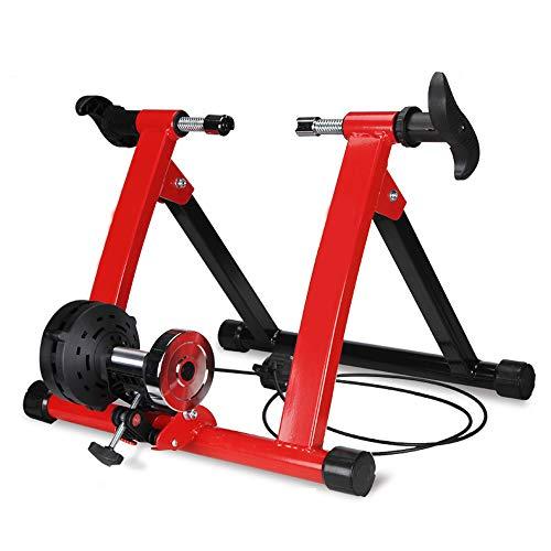 ZZYG Home Trainer pour Velo Support De Formateur De Vélo Fluide avec Cadre en Acier Ultra Résistant Et Support Magnétique Silencieux,Idéal pour Le Cyclisme en Salle,Red