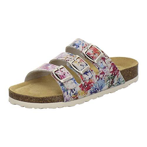 AFS-Schuhe 2133 sportliche Damen Pantoletten aus Leder, praktische Arbeitsschuhe, Bequeme Hausschuhe, Made in Germany (39 EU, Mehrfarbig/bunt)