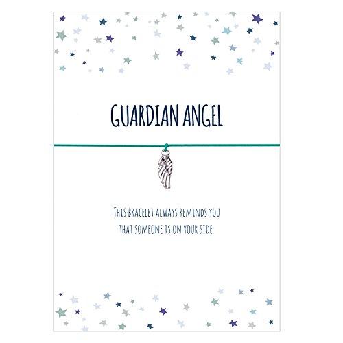 Glücksschmiedin Guardian Angel- Armband mit Engelsflügel Anhänger versilbert, elastischem Textilband in türkis und liebevoller Karte auf englisch