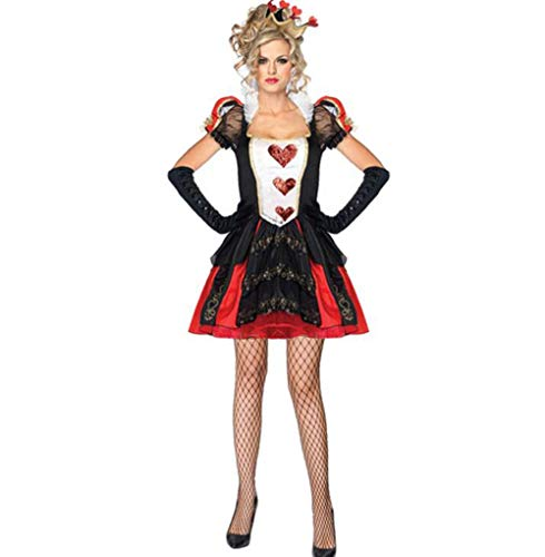 Reina De Corazón Rojo Vestido De Baile De Impresión Baile De Disfraces Cosplay De Cuello Alto De Encaje Traje De La Reina del Corazón con La Corona, Falda De Reina, Guantes,M