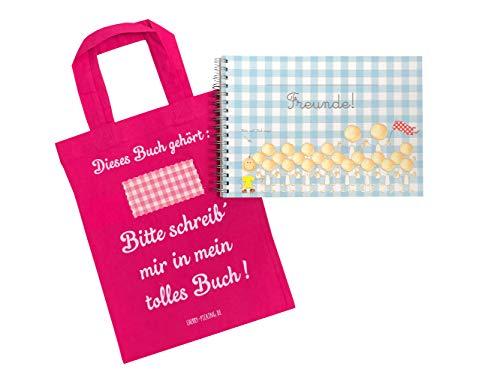 Cherry Picking Freundebuch - Kindergarten - Kindergartenfreunde Poesiealbum mit Tasche PINK
