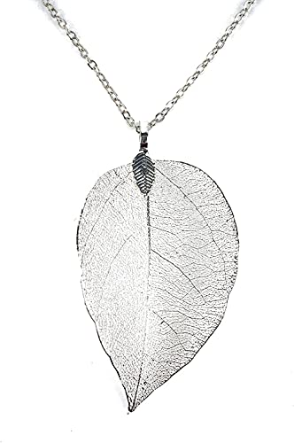 qiangloushui Original and Unique Necklace with a Filigree Leaf Pendant and 28inch Chain Delicately Handmade with a Natural Tree Leaf Plated in 925 Sterling Silver