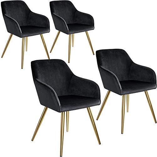 tectake 800862 4er Set Esszimmerstuhl mit Armlehnen, gepolstert, Sitzfläche aus Samt, goldene Metallbeine, für Wohnzimmer, Esszimmer, Küche und Büro (Schwarz Gold | Nr. 404015)