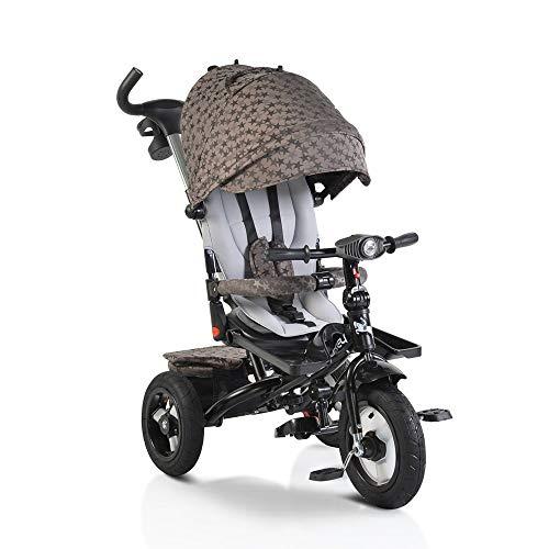 Moni Trade Ltd. Tricycle, Dreirad Jockey Gummireifen Musik Sitz drehbar Schubstange verstellbar, Farbe:beige