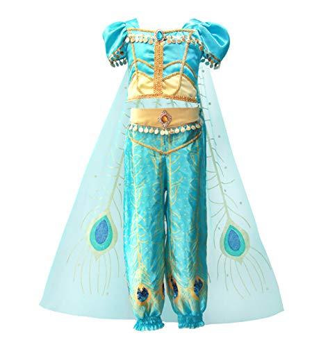 Lito Angels Disfraz de Princesa Jazmín para Niña con Capa Vestido de Jazmin de Halloween Fiesta de Cumpleaños Carnaval Talla 8 a 9 Años Verde Azulado 226