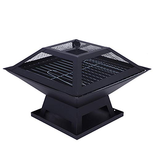 FMXYMC 18inch Outdoor Fire Pit, Garden Firepit Bowl, Patio Wood Burner, Square Stove with Mesh Spark Guard Cover, Outdoor Heater with BBQ Grill