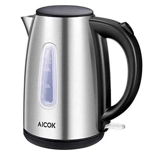 Wasserkocher 1.7 Liter Edelstahl Wasserkocher 2200watt Automatische Abschaltung Kochendem Trockenschutz BPA Frei 360 Grad Pirouette Silber durch Aicok