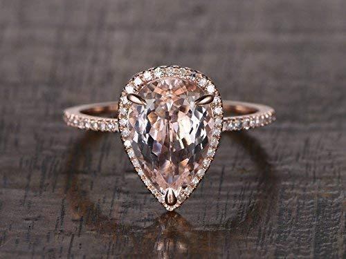 Amazon Com 8x12mm Pear Shaped Cut Natural Pink Morganite Diamond Halo Engagement Ring Solid 14k Rose Gold Half Eternity Thin Wedding Band Bridal Set Women Anniversary Gift For Her Birthstone Handmade