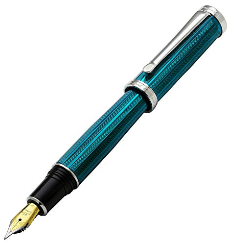 Xezo diamantato e azzurro con finitura Serialized fine penna stilografica. platinata. Pesanti (architetto azzurro f-2)