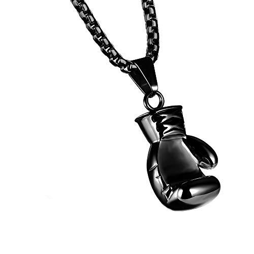 LYN&xxx Acero Inoxidable Colgante Collar Boxeo Guantes Hombre, 55CM Ajustable - Acero Inoxidable - para Hombres Y Mujeres San Valentín para Hombres Adolescentes,Negro,S