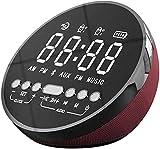 DZCGTP Radio Reloj Despertador, Radio Reloj con Altavoz Bluetooth y Cargador inalámbrico, Reloj de cabecera con Alarma Dual con Cargador USB, repetición de Alarma, Pantalla LED Regulable
