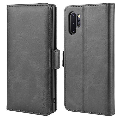 La Farah Handyhülle für Samsung Galaxy Note 10 Plus Hülle, PU Leder Flip Schutzhülle für Samsung Galaxy Note 10+ 5G Tasche,Schwarz
