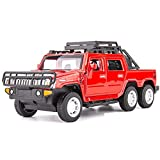 Modelos de Autos, Simulación 1:32 para el Sonido de la Recogida de la aleación de Hummer y la luz Pull Back Modelo Metal Diecast Cars Pickup de Seis Ruedas para niños para niños Boys Girls Gift, WQQ