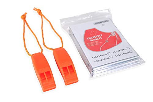 Xedmark 2 Silbatos, Señales, Supervivencia, Emergencia, Seguridad, Plástico Naranja con Manta de Emergencia