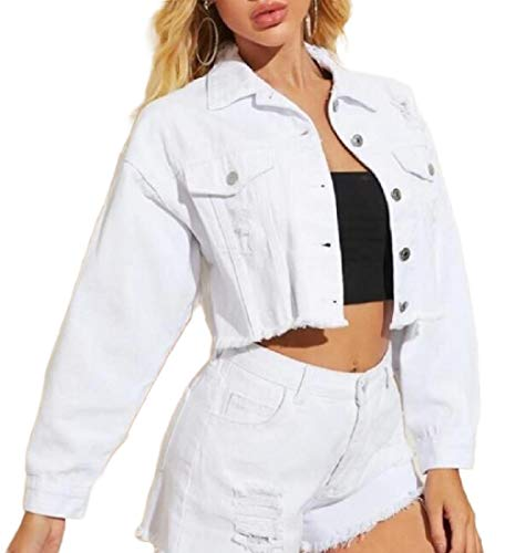 securiuu Women Classic Casual Short Retro Distressed Denim Solid Color Pocket Button Jacket Tops White XXS