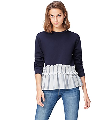 Amazon-Marke: find. Sweatshirt Damen mit Rüschen und Streifenmuster, Blau, 36, Label: S