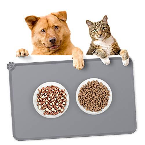 Songway Tiernahrungsmatte, Silikon Hund Katzen Futternäpfe Fütterung Tischset, wasserdichte rutschfeste Tiernahrung Pad (Grey)