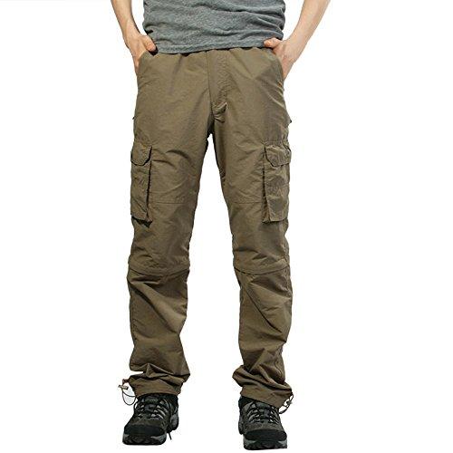 Sunenjoy Hommes Pantalons Extérieur Séchage Rapide Occasionnel Pantalon Lâche Amovible Salopettes Sport Randonnée Camping Tourisme Résistant à l'eau Respirable Convertible Cargo Pantalon (L, Kaki)