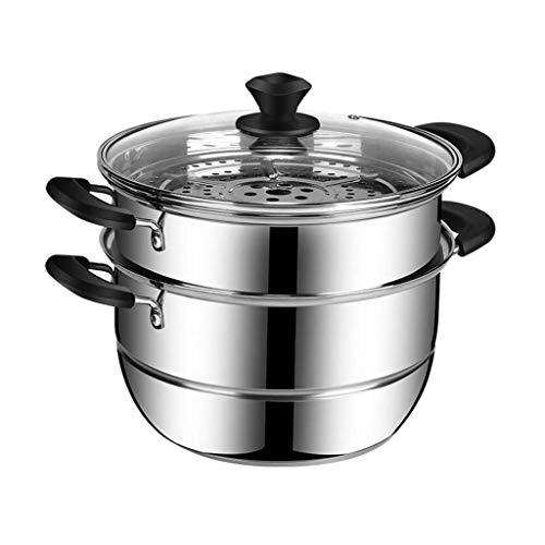 XJJZS 2 Nivel Vapor Pot Set de Utensilios de Cocina al Vapor + Tapa de Vidrio, 26CMDiameter, Cocina de Acero Inoxidable Que Cocina la Herramienta