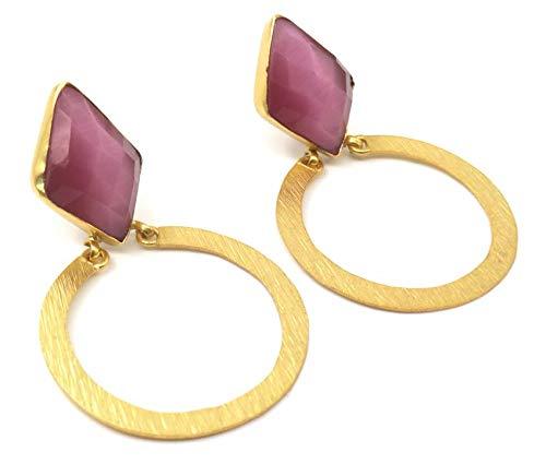 Jewelshingar Jewellery Fine Semi Precious Pink Agate Earrings For Women (53316URVI)