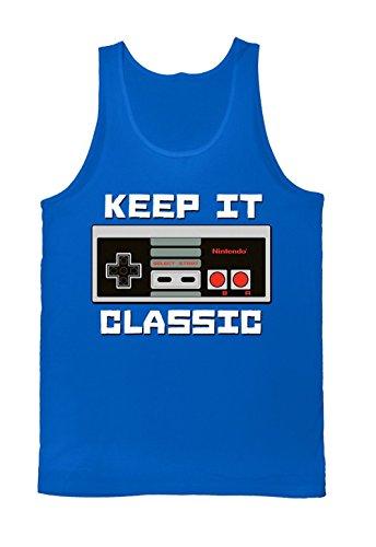 Nintendo Men's Keep It Classic Tank T-Shirt, Royal, Small
