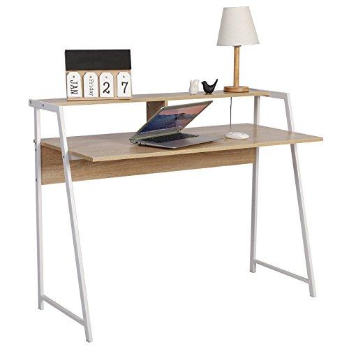 WOLTU Escritorio de Computadora Mesa de Oficina Mesa de Trabajo PC Mesa de Ordenador Portátil, con Estante, Estructura de Acero, 112x56x90cm (AxPxH), Madera,Roble TSG20hei