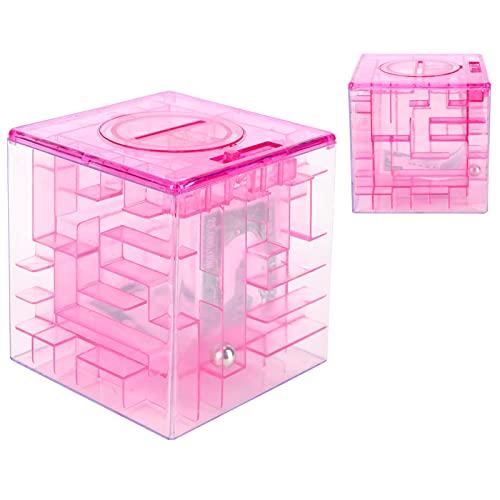 Mini Hucha, Rompecabezas de Dinero Divertido Cajas de Regalo Juego de Laberinto para niños para Monedas por Efectivo(Red)