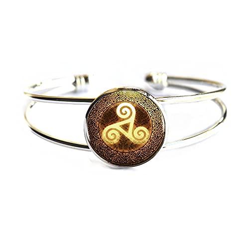 Pulsera única natural y perfecta pulsera de oro Triskelion brazalete de las mujeres joyería amigo triskele brazalete triskelion para hombres, PU026